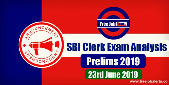 SBI Clerk Prelims Exam Analysis - 23rd June 2019
