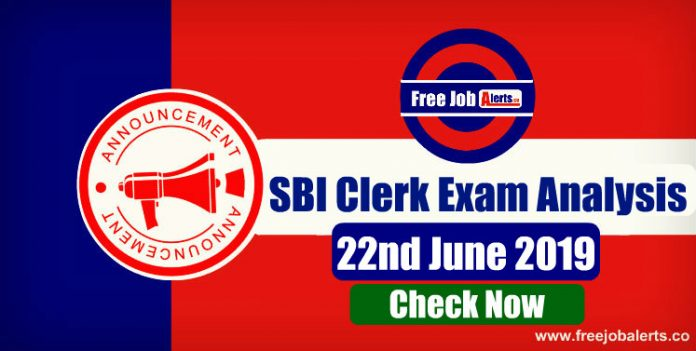 SBI Clerk Prelims Exam Analysis - 22nd June 2019
