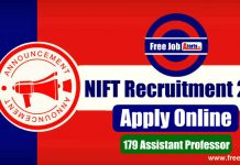 NIFT Recruitment 2019 - Apply Online 179 Assistant Professor Notification
