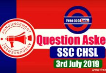 Questions Asked In SSC CHSL Tier 1 Exam 2019 - 3rd July 2019