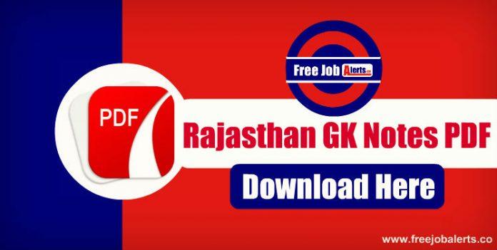 Rajasthan General Knowledge Notes PDF - Rajasthan Patwari/Police GK PDF