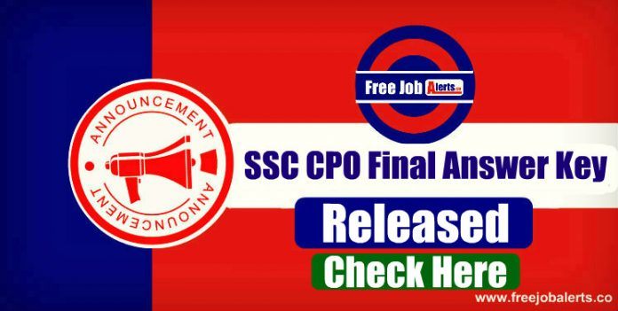 SSC CPO Final Answer Key Released - Download Here