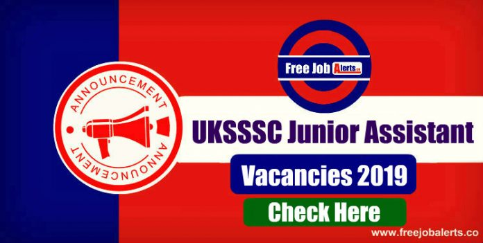 UKSSSC Junior Assistant, Steno, Personal Assistant(PA) 2019 - Apply Online