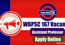 WBPSC Assistant Professor 167 Vacancies 2019 - Last Date 19th December 2019