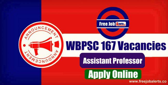 WBPSC Assistant Professor 167 Vacancies 2019 - Last Date 19th December 2019