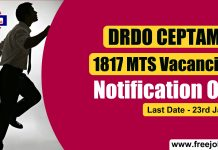 DRDO CEPTAM 1817 MTS Vacancies 2019 - Last Date 23rd January 2020
