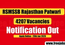 RSMSSB Patwari 4207 Vacancies 2019-20 Notification Out