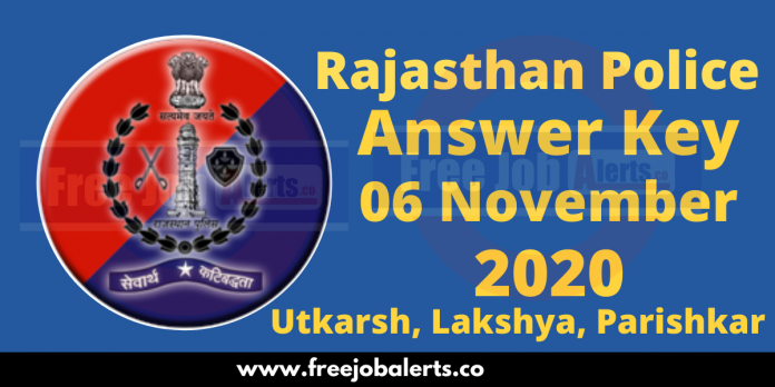 Rajasthan Police Constable Answer Key 2020 - 6th November 2020